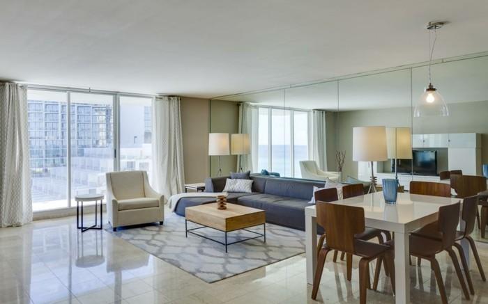 hausrenovierung wohnzimmer ideen spiegelwand wandgestaltung esstisch weiss