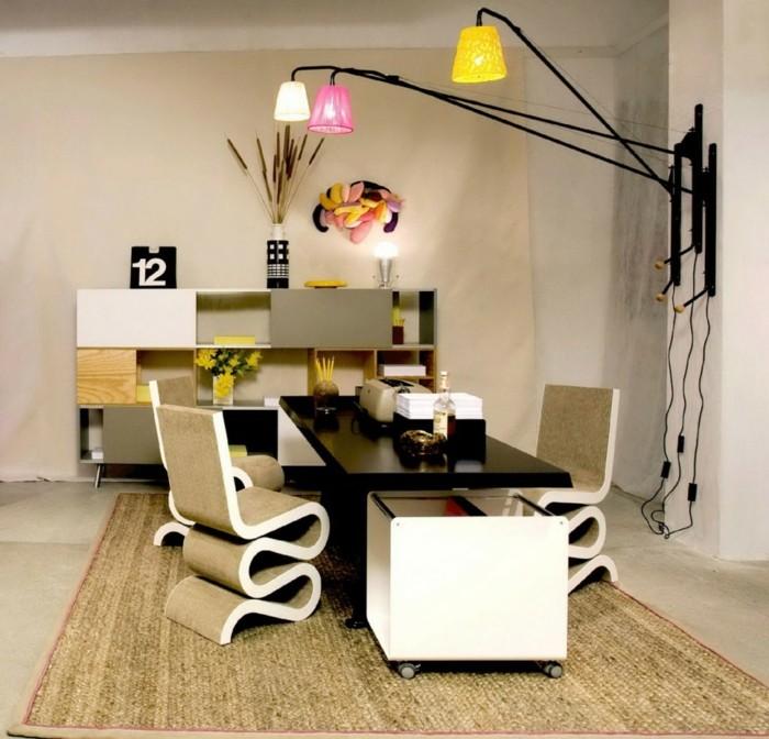 home office einrichten coole stühle sisalteppich