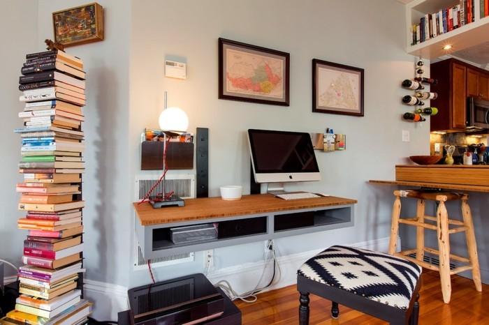 home office einrichten eklektische einrichtungsideen hocker bücher