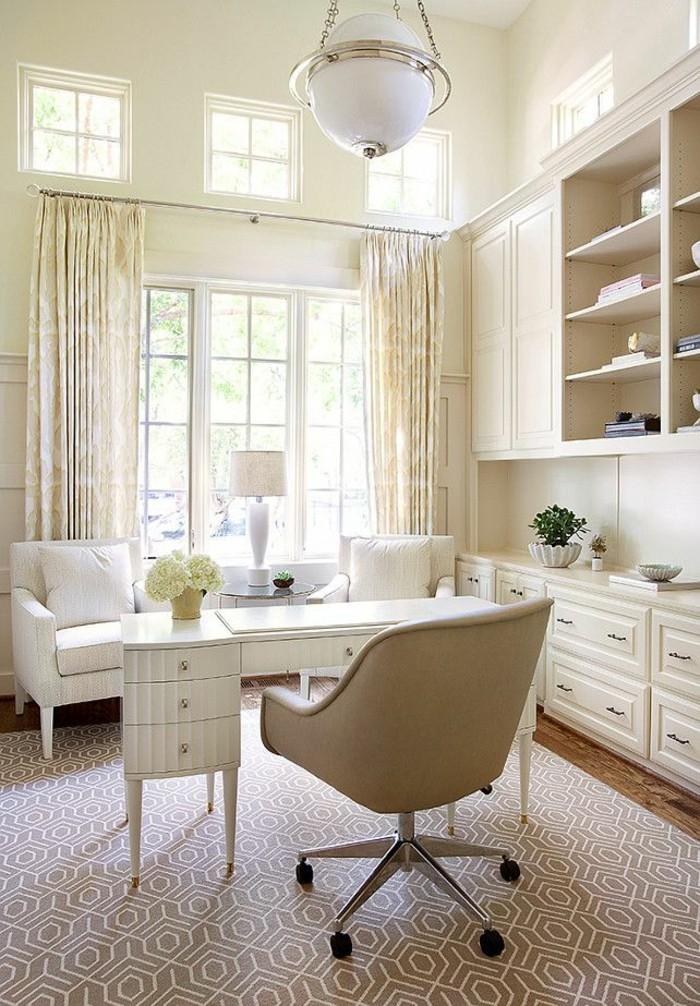 home office einrichten modern stauraum blumendeko teppich