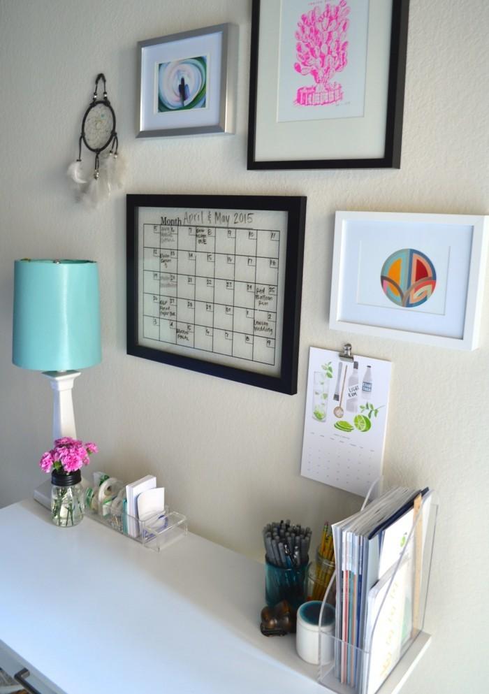 home office einrichten ordnung halten weiße wände