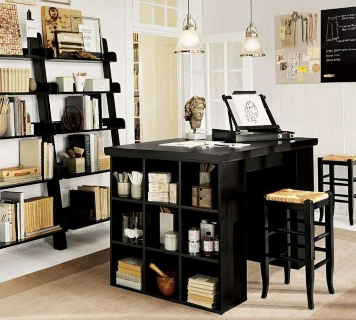 home office einrichten schwarze möbel hängelampen stauraum ideen