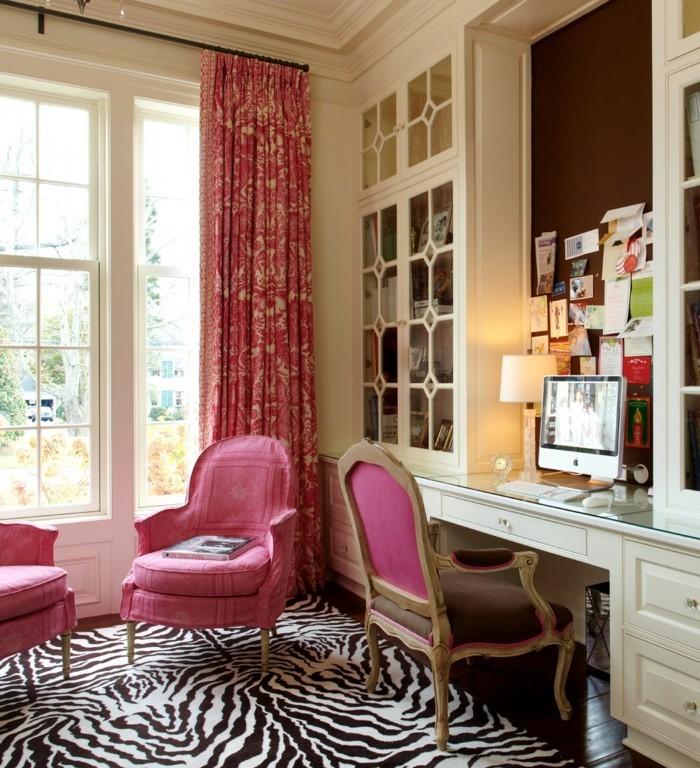 home office einrichten teppich zebra muster rosa möbel
