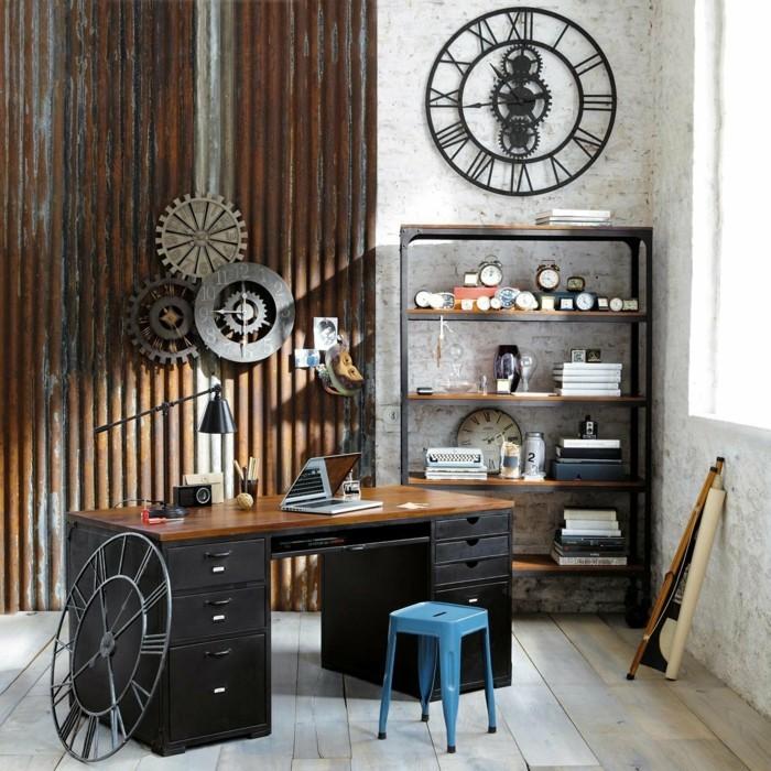 home office einrichten vintage stil schönes wanddesign