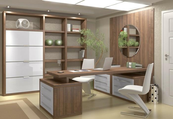 home office einrichten wandspiegel arbeitsstühle pflanze