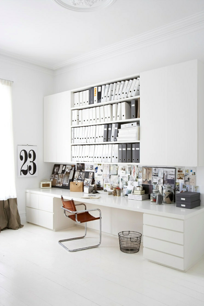 home office einrichten weißes ambiente gemütlich