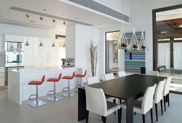 küchen ideen bereiche absondern barhocker hängelampen schöne wanddeko