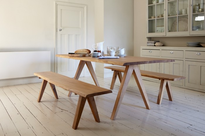 küchen ideen esstisch sitzbank holzboden