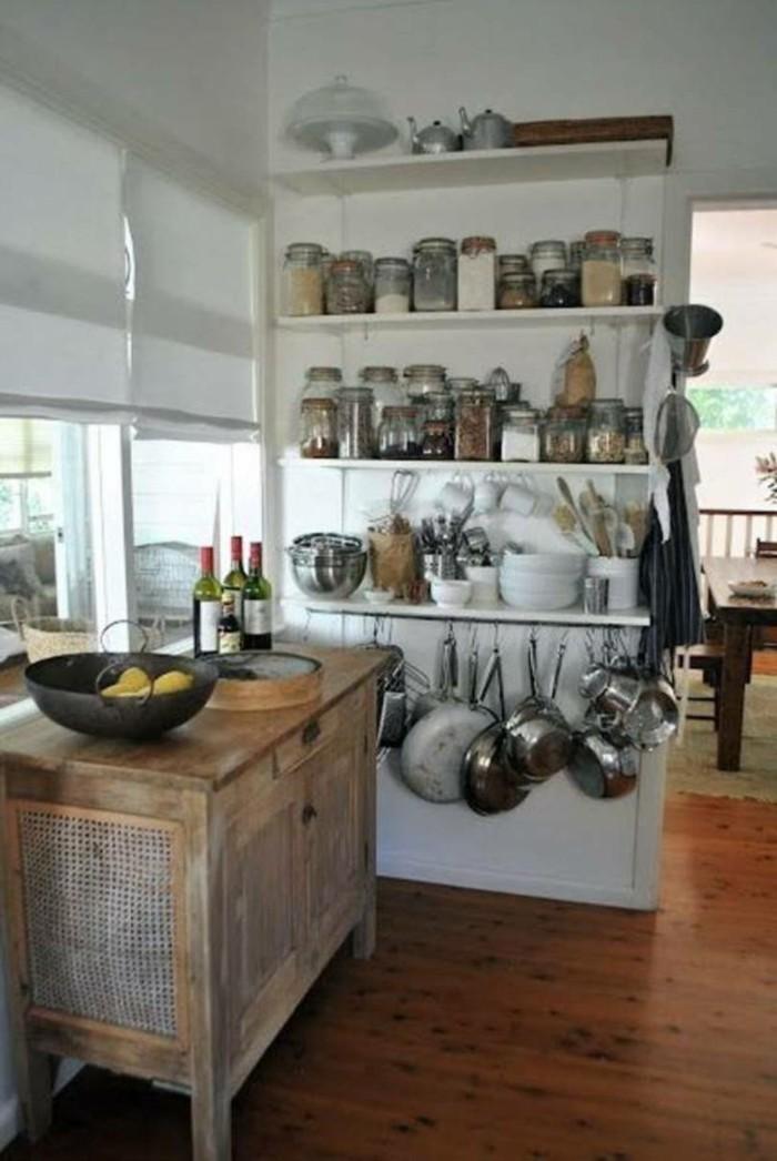 küchen ideen geschirr aufhängen hölzerne kommode stauraum ideen