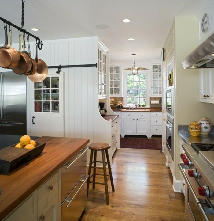 küchen ideen geschirr hängen kücheninsel holzboden