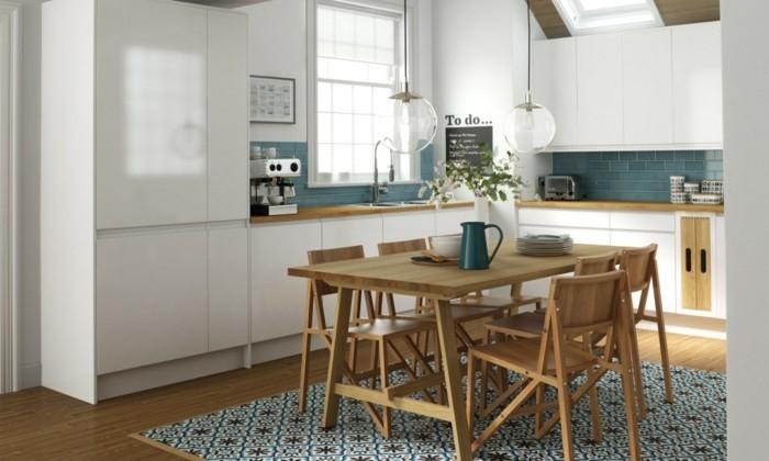 küchen ideen holzmöbel schöner teppich grüne küchenrückwand