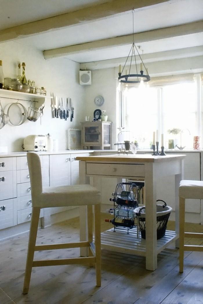 küchen ideen kleine kücheninsel barhocker holzboden