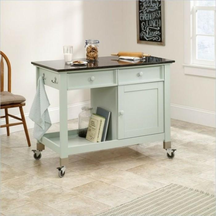 küchen ideen möbel tisch rollen funktional