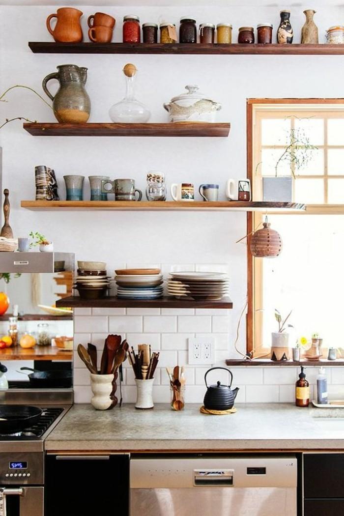 küchen ideen offene regale weiße metro fliesen