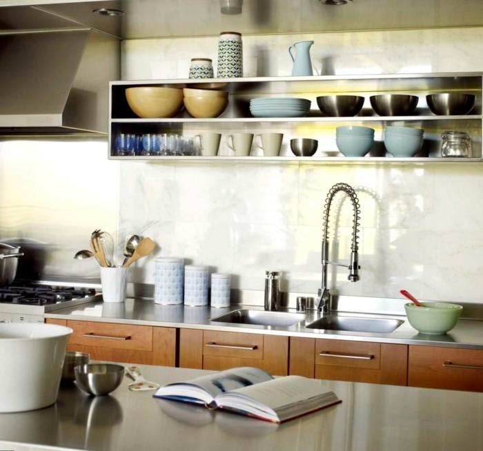 küchen ideen offene wandregale stauraum arbeitsfläche