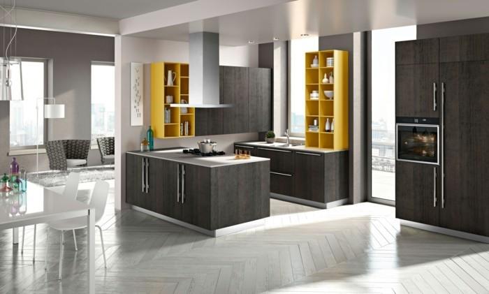 küchengestaltung adunkles holz kuchenfronten parkett gelbe kuchenregale