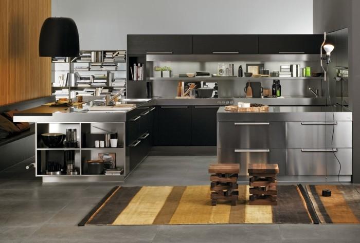küchengestaltung italienische kuche aluminium fronten ergonomisches kuchendesign