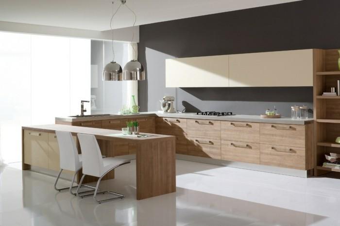 küchengestaltung italienische kuche helles holz ergonomische kucheneinrichtung kucheninsel