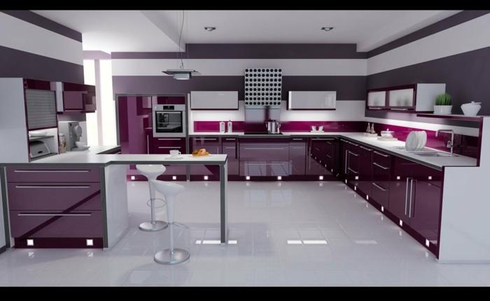 italienische kuche violette farbe hochglanz kuchenschranke