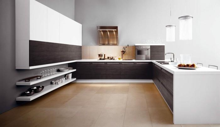küchengestaltung italienische kuche weise kuchenschranke unterschranke dunkles holz furniere