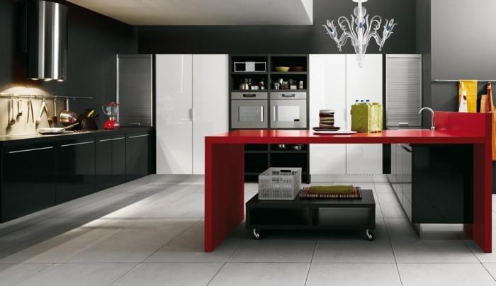 küchengestaltung minimalistisches kuchendesign rote kucheninsel arbeitsflache schwarz weise kuchenschranke