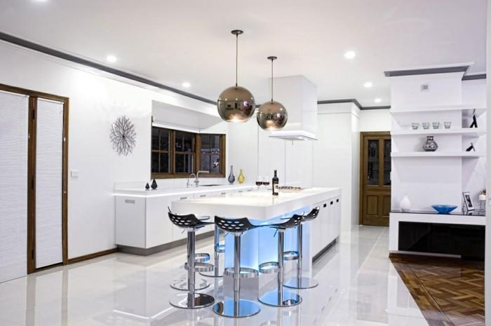 kchenideen beleuchtung weiße wände wanddeko moderne barhocker