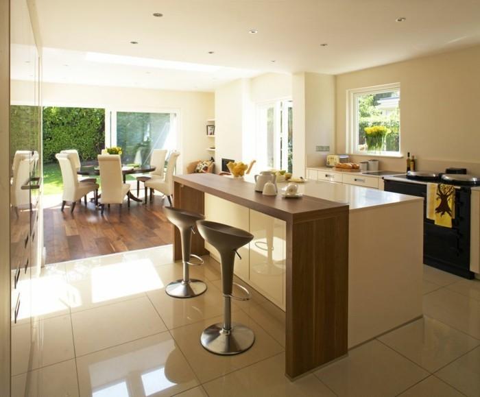 küchenideen kücheninsel bodenfliesen offener wohnplan