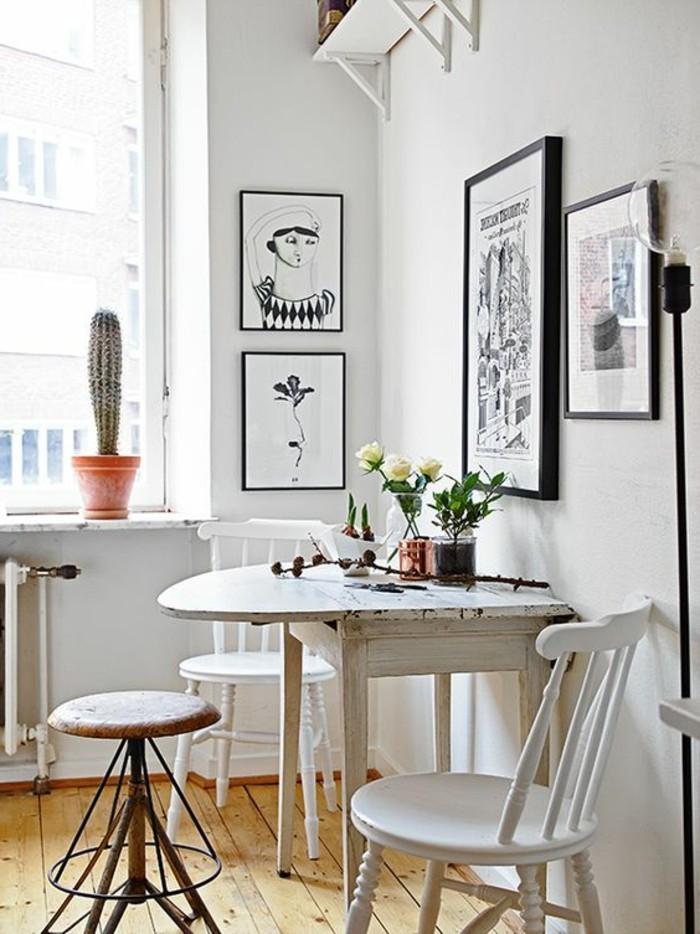 küchenideen kleine küche einrichten klappbarer tisch wanddeko pflanzen