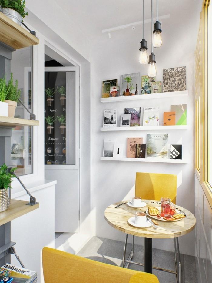 küchenideen runder tisch gelbe stühle kleine essecke