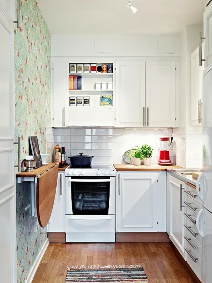 küchenideen wandtisch klappbar teppichläufer wandtapete blumenmuster weiße küchenschränke