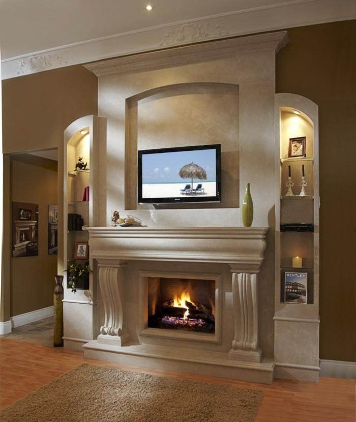 kleines wohnzimmer essecke küche offen massivholzmöbel graues sofa