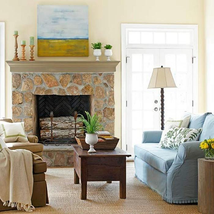 kamin deko wandbilder kerzen wohnzimmer einrichten