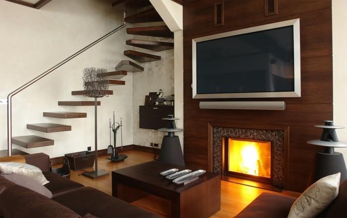 kamin deko wohnideen wohnzimmer innentreppen