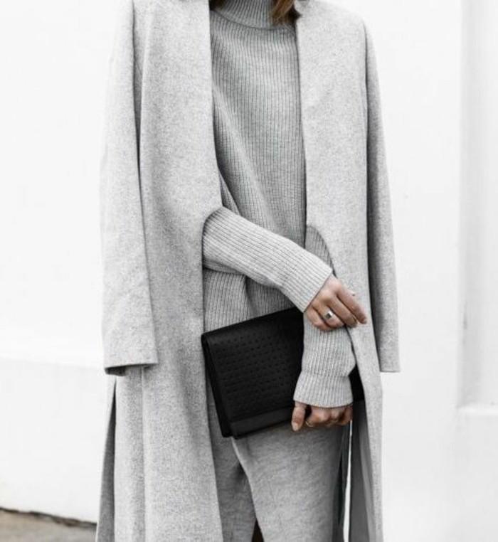 mantel grau damen herbstmode elegantes outfit damenmantel
