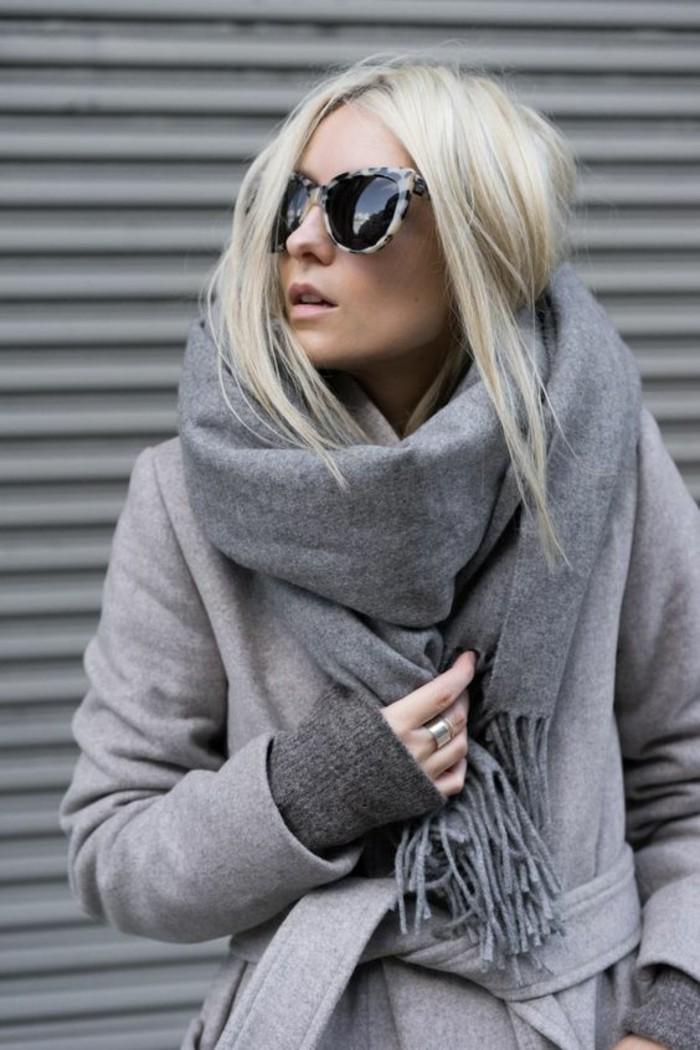mantel grau damen modetrends herbst modeaccessoires schal
