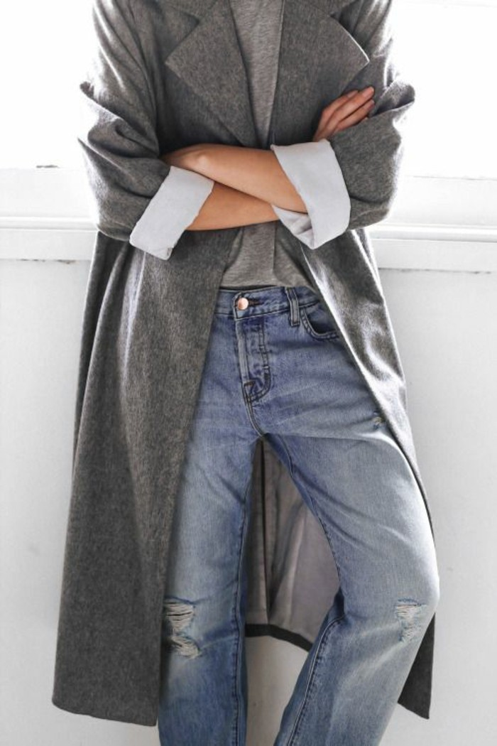 mantel grau damen modetrends herbstmode casual outfit