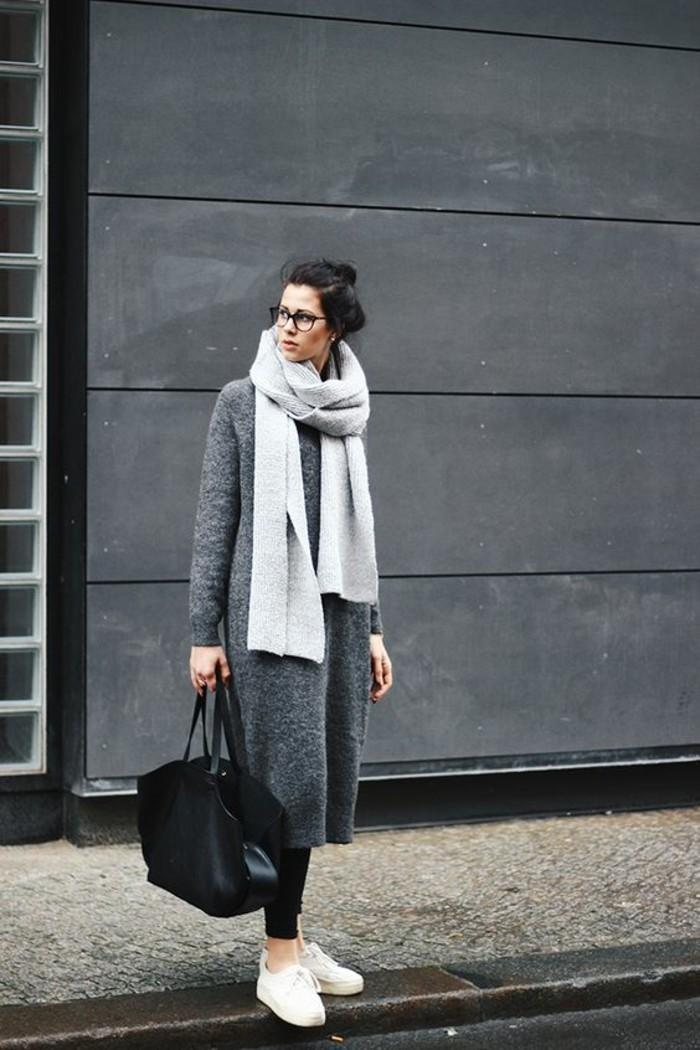 mantel grau damen modetrends herbstmode damenmantel mit schal