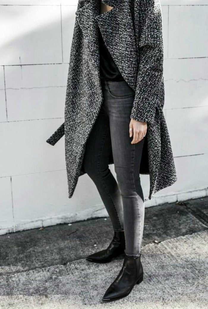 mantel grau damen modetrends herbstmode dunkle farben