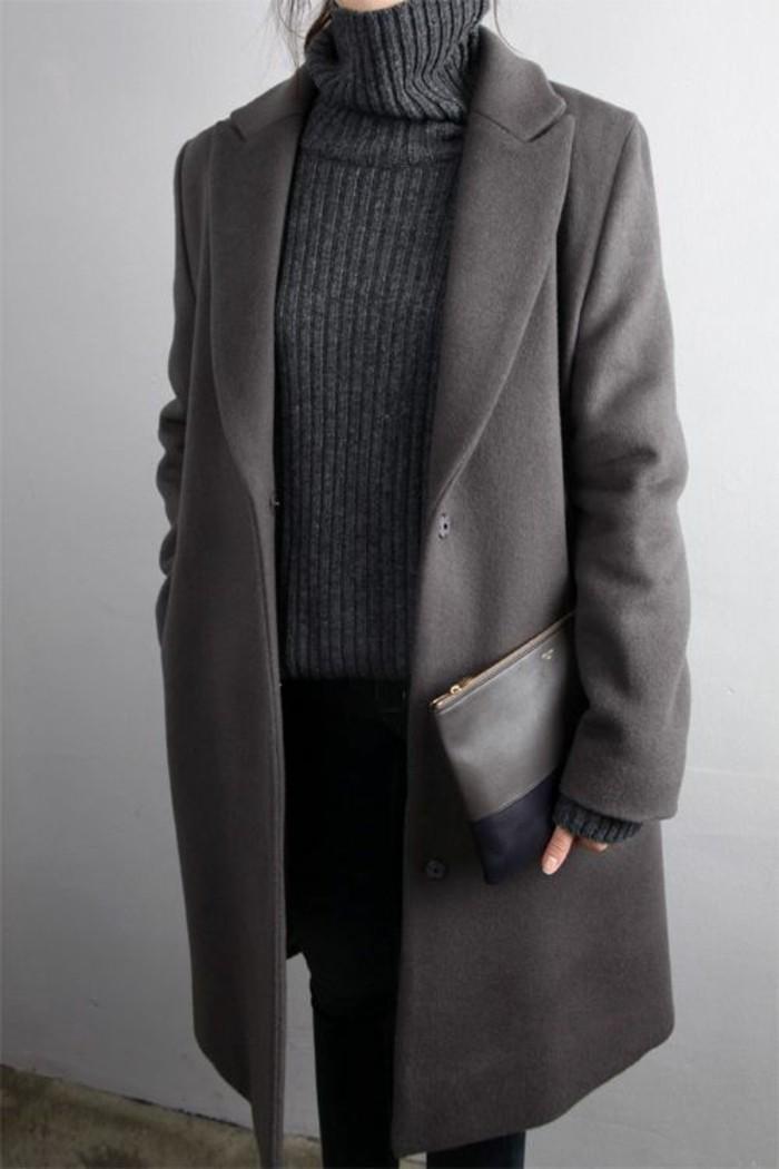 mantel grau damen modetrends herbstmode farben dunkelgrau