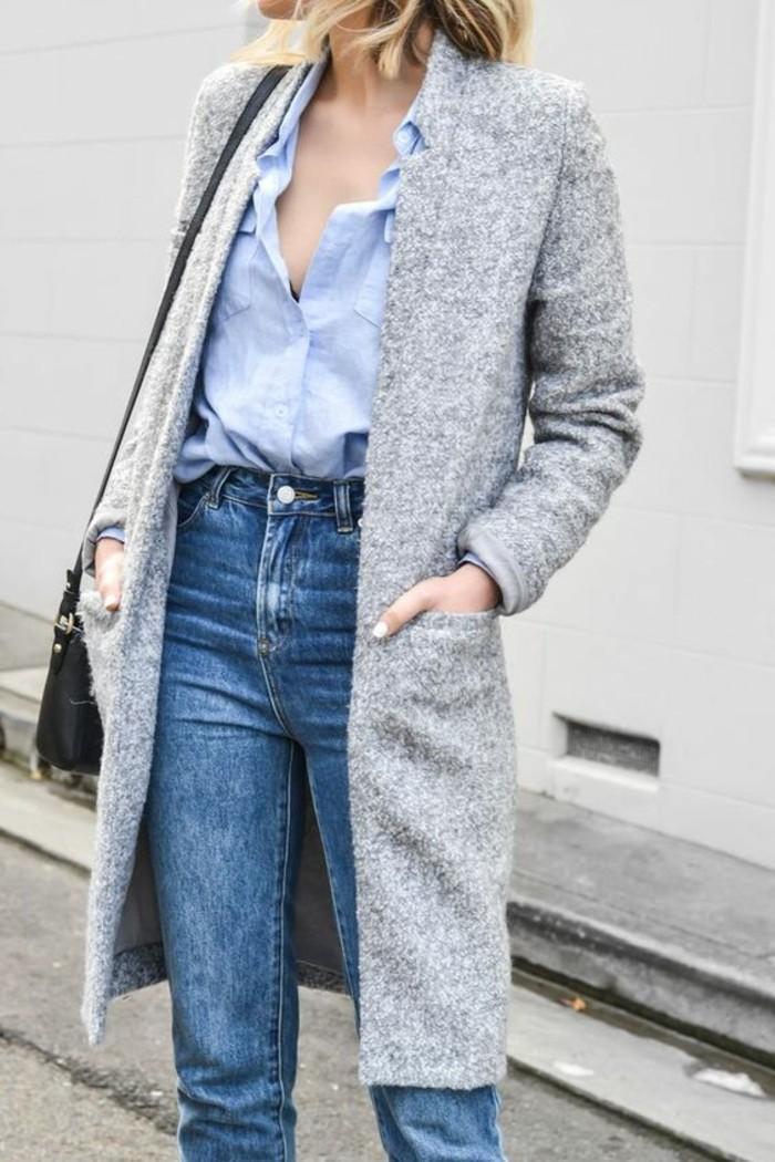 mantel grau damen modetrends herbstmode mantel mit jeans