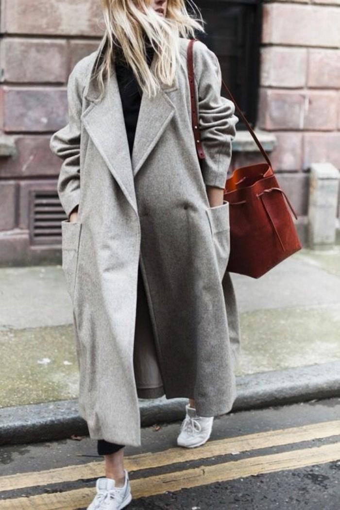 mantel grau damen modetrends herbstmode oversize mantel