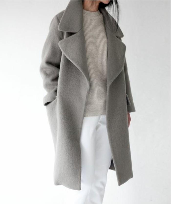 mantel grau damen modetrends herbstmode rever