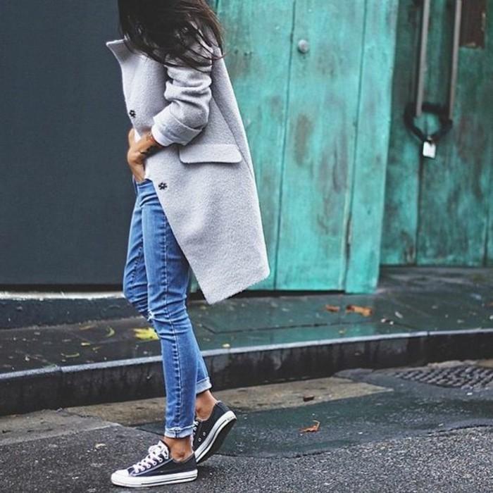 mantel grau damen modetrends herbstmode sportlich elegant