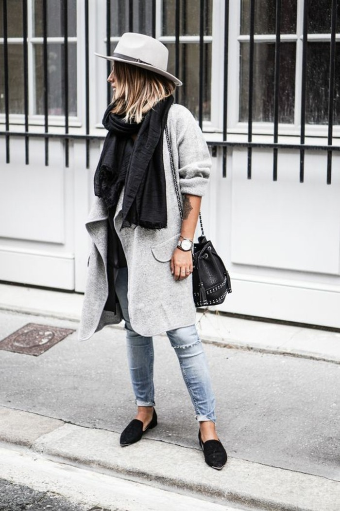 mantel grau damen modetrends herbstmode streetstyle