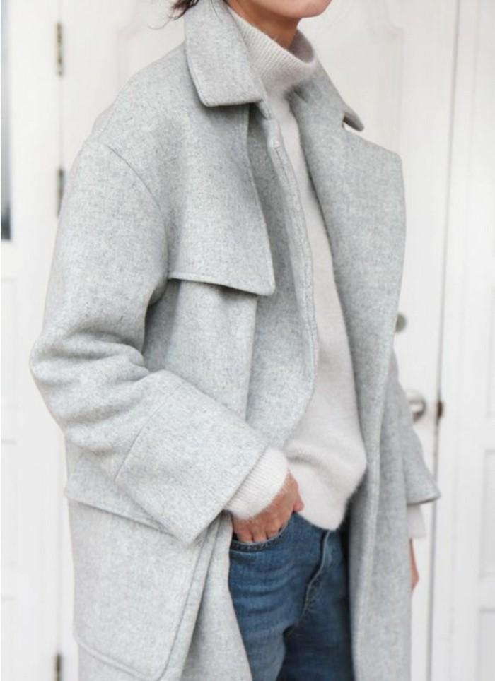 mantel grau damen modetrends herbstmode wollmantel