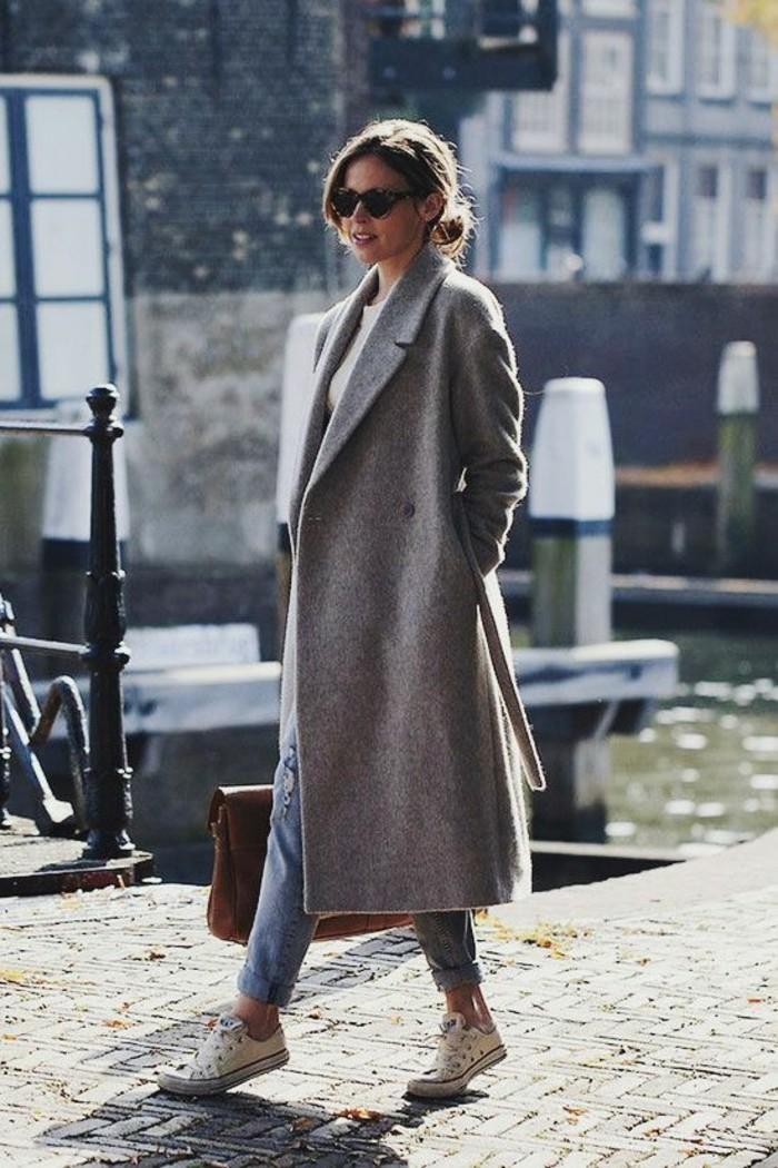 mantel grau herbstmode aktuelle trends oversize mantel lang