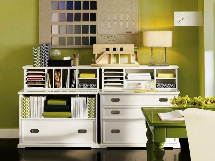 moderne inneneinrichtung grüne wandfarbe weiße möbel