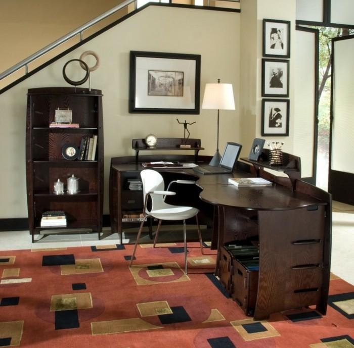 moderne inneneinrichtung home office gestalten teppich dunkles mobiliar