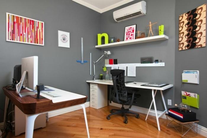 moderne inneneinrichtung home office graue wand weiße wandregale