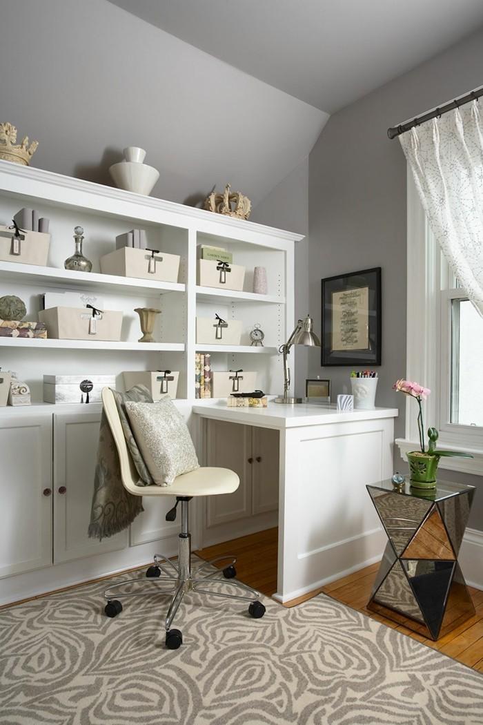 moderne inneneinrichtung home office ideen cooler beistelltisch teppichmuster